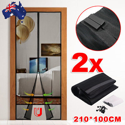 2 Packs Magnetic Door Mesh Fly Screen Magic Magna Bug Mosquito Curtain Black OZ