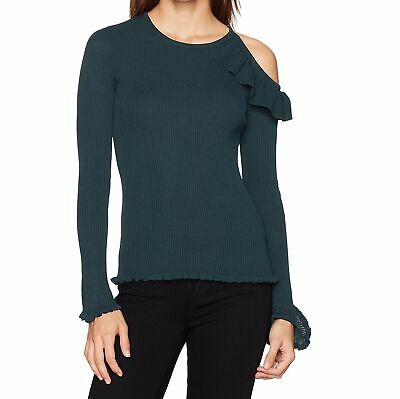 9f807beda31ace Guess NEW Green Womens Size Large L Brook Cold-Shoulder Ruffle Knit Top  89  186