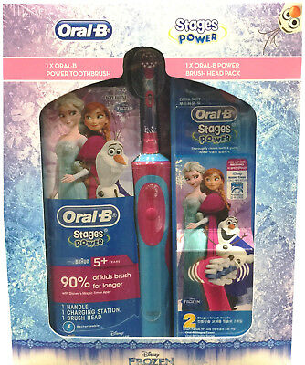 Braun Oral-B Kids Child Power Toothbrush | Rechargeable | 3 Heads Included |girl