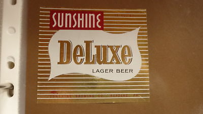 OLD 1970s USA BEER LABEL, SUNSHINE BREWERY READING PENNSYLVANIA, DELUXE BEER