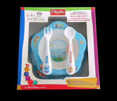 BNIB Playtex Baby Einstein Eat & Discover Bowl Spoon Fork Plate Meal Set