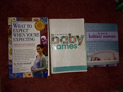 what to expect when you are expecting, the book of babies's names, a world of...