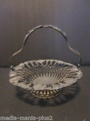 Antique Silver Plated Small Fruit Basket Grape Design Crown Crossed Key Hallmark