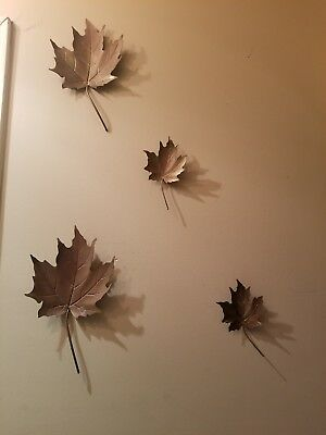 Vintage MCM Leaf Metal Wall Hangings  - Brass Bronze Copper Colored - Set of 4