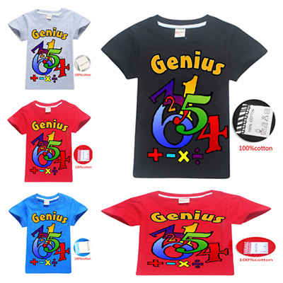 MATHS GENIUS Boys Girl's Short Sleeve T-Shirts 100% Cotton Tops tshirts Clothes