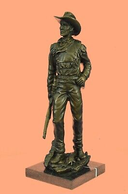 Vintage Solid Bronze Statue HEAVY Sculpture Bust of Cowboy Legend Will Rogers