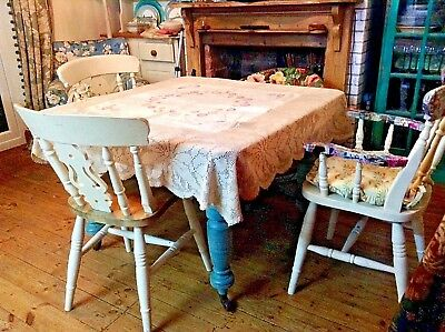 Vintage cream Irish linen tablecloth with hand worked embroidery & crochet