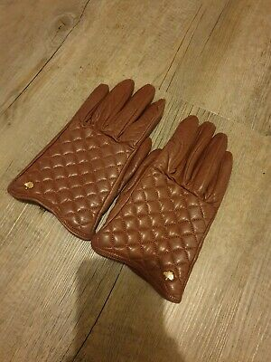 45f638f48a513 MULBERRY LADIES RUM Nappa Leather Cashmere lined Bow Gloves - Small ...
