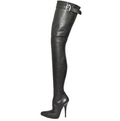 Lady Leather Pointed Toe Thigh High Over the Knee Boots Zipper Stiletto Big Size
