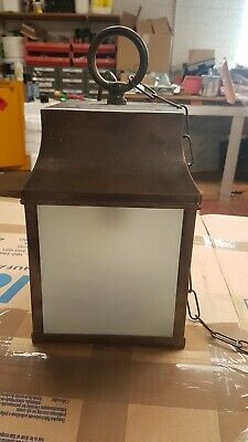Vintage Style Lantern With Etched Glass Panels