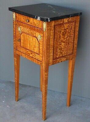 Rare antique blonde Empire bedside cabinet ormolu marble top 1800's Biedermeier