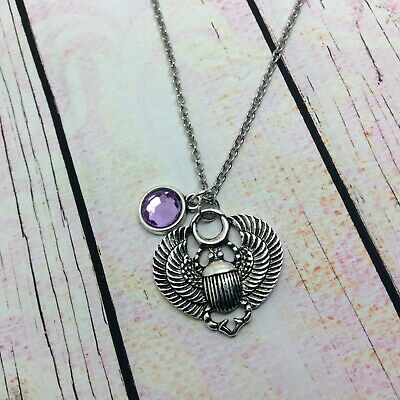 Egyptian scarab beetle necklace silver plated chain pendant can be personalised