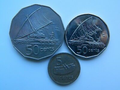 1982 and 2009 FIJI 50 CENTS and 1979 5 CENT coin circulated condition.