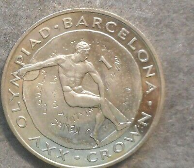 Gibraltar 1991 Olympic Discus Crown  Crown  Nice aUNC/UNC