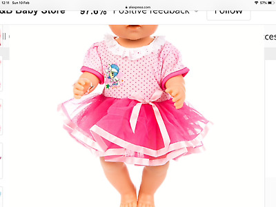 MY FIRST BABY ANNABELL PINK DOLL CLOTHES BALLERINA TUTU DRESS  new