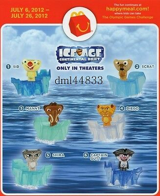 Mcdonalds 2012 Ice Age Continental Drift Complete Set 1 6 Fast Food Cereal Premiums Toys Hobbies Keymouseit Com