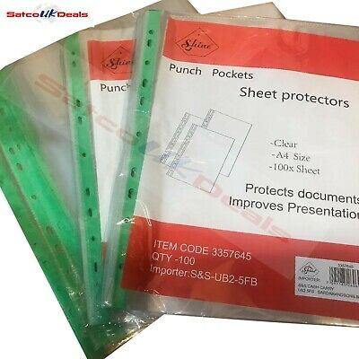 60 MICRON A4 PUNCH POCKET Plastic Poly Strong Filing CLEAR Wallets Sleeves HEAVY
