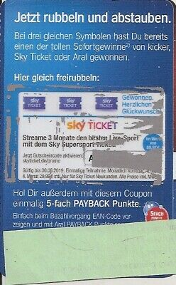 Aral Coupon -  sky Ticket für 3 Monate