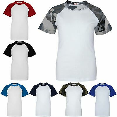 Kids Boys Girls T Shirt Plain Baseball Short Raglan Sleeves Sports T-Shirt 2-13Y