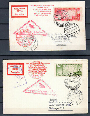 Russia 1932 Polar Pioneer Russian Artic 2 X First Flight Cover & Card To Usa Uk