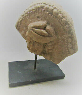 Rare Ancient Indian Terracotta Mounted Plaque Fragment 200Bc-200Ad Kushan