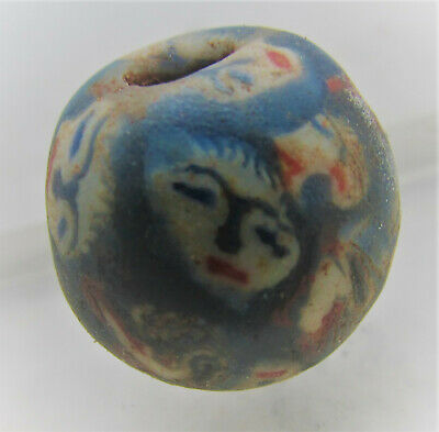 15Th-16Th Century Ad Ancient Islamic Mosiac Glass Face Bead.