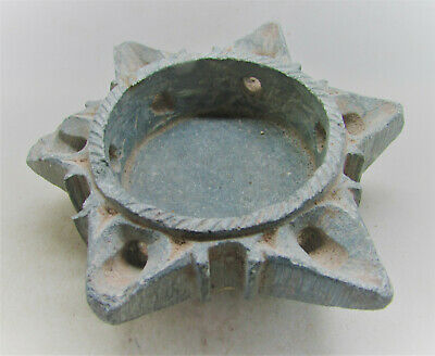 Ancient Byzantine Schist Stone Oil Lamp Star Formed Very Rare. 9Th-10Th Century