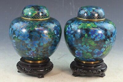 Pair Of VTG Chinese Cloisonne Tea Caddies w,Wood Stands