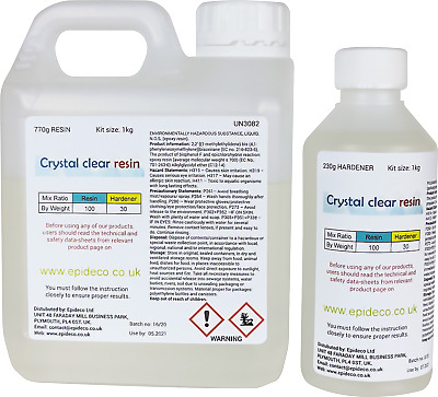 1kg Ultra Low Viscosity Crystal Clear Epoxy Resin UV Resistant Non Toxic