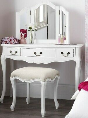 White Shabby Chic Juliette French Dressing Table 3 Drawer RRP £214.99