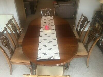 Mahogany Antique 1900-1940's Extending Dining Table with 6 chairs