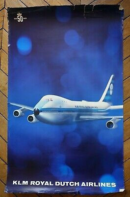 Grande affiche ancienne 1969 - compagnie KLM Royal Dutch Airlines Boeing 747