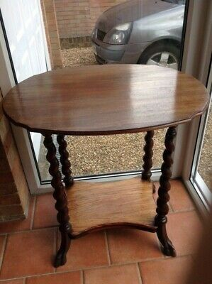 Antique Kingswood Carved Oval Occasional Table with Barley Twist