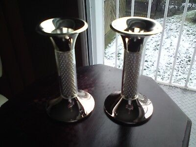 A Pair Of Beautiful Silver Plated Candlesticks,vgc,10.4 Cms Approx..