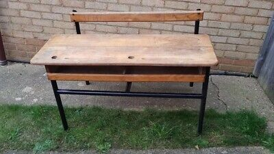 Original Wooden Vintage French Double School Desk