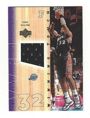 KARL MALONE  32 Utah Jazz Piece of Game-Worn Jersey 2001 Upper Deck ... c743e910a