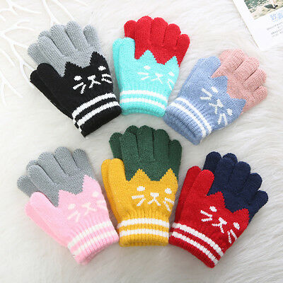 LX_ FJ- Cute Cartoon Winter Kids Baby Boys Girls Gloves Warm Full Finger Mitte