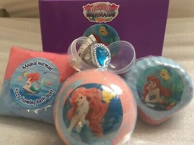 Disney Ariel/magical Mermaids Bath Bomb Gift Set /hidden Treasure+silver Charm