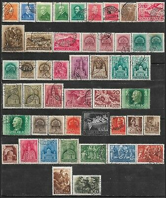 1932-1944 Hungary Ungarn Magyar Lot Of 48 Used Stamps Cv €9.30