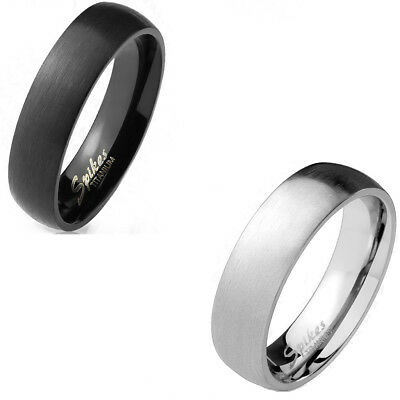 Wide Dome Brushed Finish Solid Titanium 6mm Width Classic Wedding Band Ring