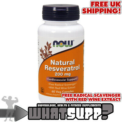 NOW Foods NATURAL RESVERATROL 200mg x60 VCaps VEGAN Red Wine Extract Veganuary