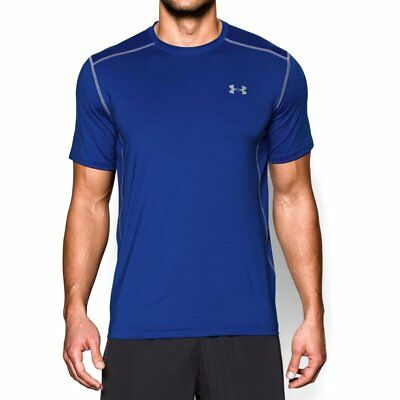 NWT Men's Under Armour UA Raid Short Sleeve Fitted Shirt Royal Blue Size S $30