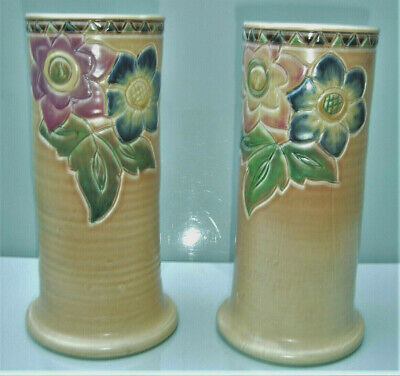 Pair Bretby scraffito decorated polychrome painted tapering vases, early C20th