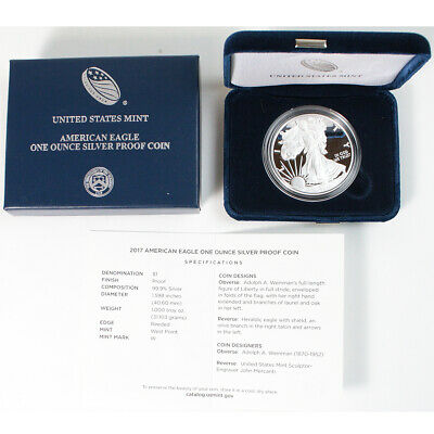2017-W .999 1 Oz Silver American Eagle Proof Dollar $1 West Point - COA & Box