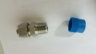 """2 pack pc. Swagelok Connector Fitting, 1/2"""" Tube x 1/2"""" Male NPT,  SS-810-1-8"""