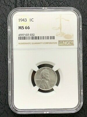 1943  1c Lincoln Steel Wheat Cent NGC MS 66