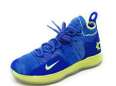 timeless design e822a 5a4ad Nike KD 11 GS Flyknit Basketball Shoes Durant Blue Lime AH3465-900 Boys  Youth 5y