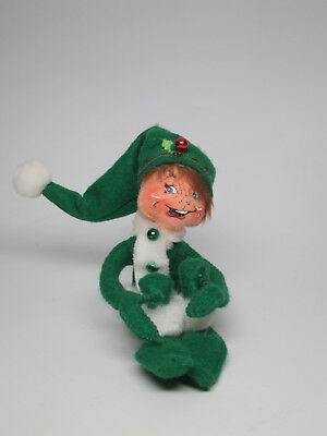 "AnnaLee Mobility Doll Green Elf Wire Posable Bendable 8"" Eyes Open Happy Holly"