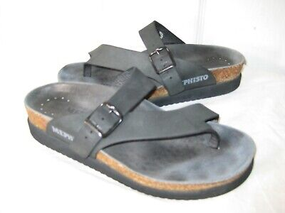 f5d1fcec21b5 Mephisto Helen Black Leather Sandals Shoes Womens Sz 37   6.5 Made In  PORTUGAL.