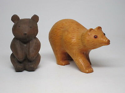 Vintage LOT 2 BEARS Hand Carved From 1 Piece Of Wood Folk Art Whittled
